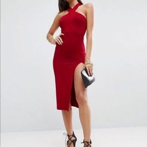 ASOS Super Thigh Spilt Cross Front&Back Midi Dress
